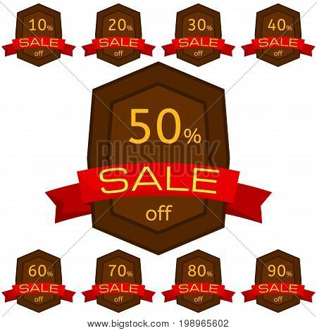 Set of discount stickers. Brown badges with red ribbon for sale 10 - 90 percent off. Vector illustration.