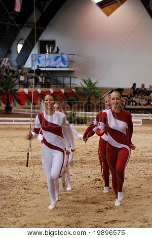 KAPOSVAR, HUNGARY - AUGUST 12: Denmark team in action at the Vaulting World Championship Final on August 12, 2007 in Kaposvar, Hungary.