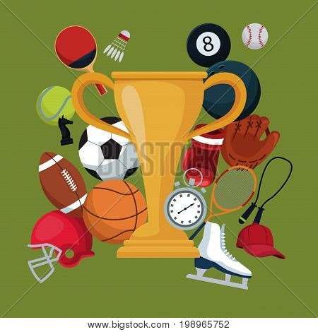 color background with golden trophy cup icons elements sport vector illustration