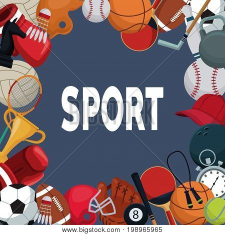 color background with border of elements sport vector illustration