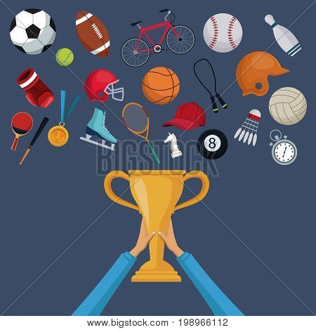 color background with hands holding a golden trophy cup and set collection elements sport vector illustration