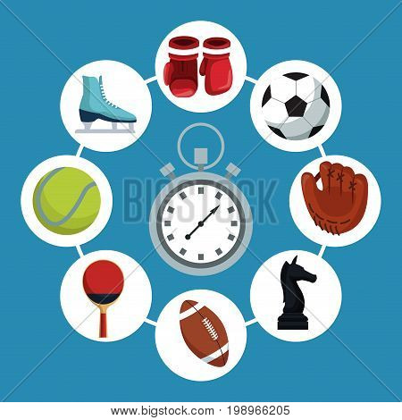 color background with chronometer with icons elements sport in circular frames around vector illustration