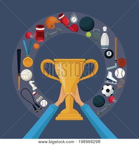color background with hands holding a golden trophy cup with circular border around with icons elements sport vector illustration