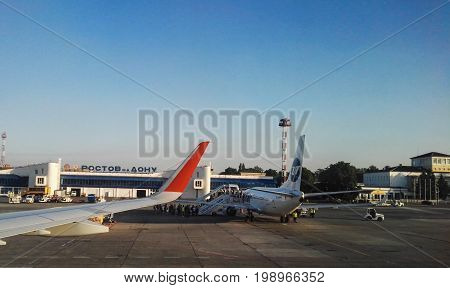 Rostov on Don, Russia - August, 2017: airport Rostov on Don, russian airlines Aeroflot, window view