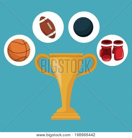 color background with golden trophy cup and circular frames with icons elements sport vector illustration