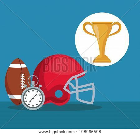 color background with elements american soccer and chronometer with circular frame cup trophy vector illustration