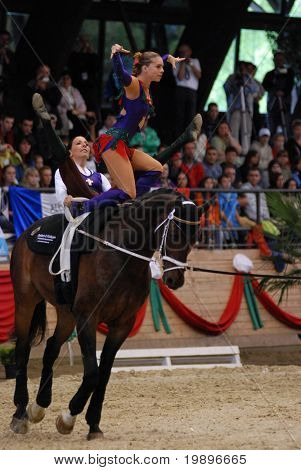 KAPOSVAR, HUNGARY - AUGUST 12: German team in action at the Vaulting World Championship Final on August 12, 2007 in Kaposvar, Hungary.