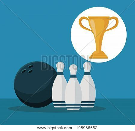color background with elements bowling ball and pins with circular frame cup trophy vector illustration