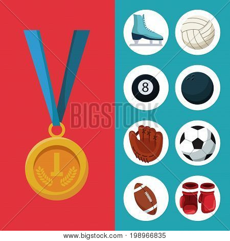 color background with golden medal first place and banner of set elements sports vector illustration