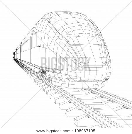 Train outline vector. Vector rendering of 3d. Wire-frame style