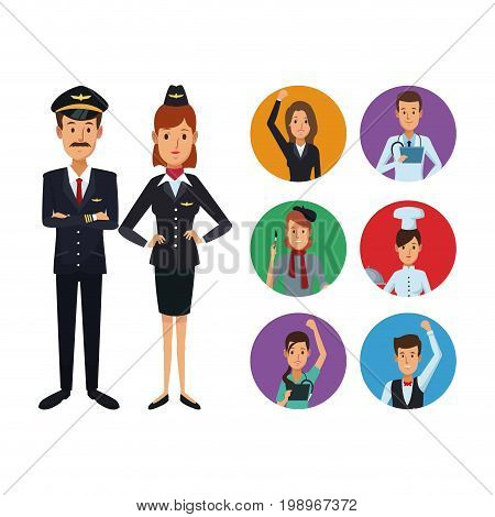 white background with full body couple pilot and stewardess with set circular frame icons group people of different professions vector illustration