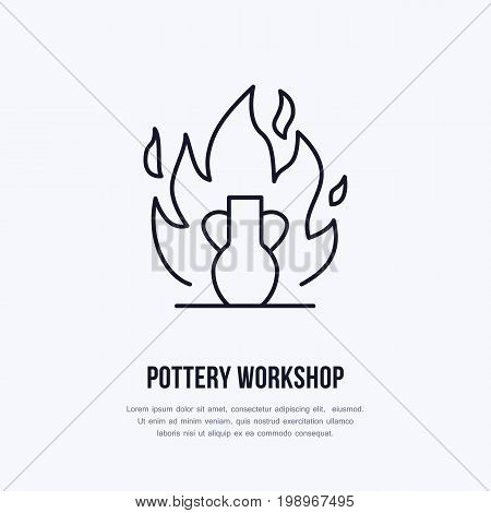 Pottery workshop, ceramics classes line icon. Clay studio tools sign. Hand building, sculpturing equipment shop sign. Illustration of burning vase.