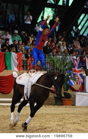 KAPOSVAR, HUNGARY - AUGUST 12: Lukas Wacher (AUT) in action at the Vaulting World Championship Final on August 12, 2007 in Kaposvar, Hungary.