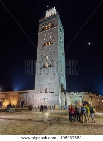 The Koutoubia Mosque Or Kutubiyya Mosque At Night, It Is The Largest Mosque In Marrakesh