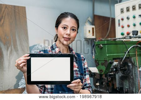 Lathe Female Worker Holding Mobile Digital Tablet
