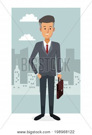 monochrome city landscape frame background with colorful full body businessman vector illustration