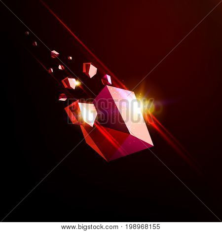 Falling beauty stone, ruby, space debris, red collapsing asteroid, vector 3D illustration. Isolated unusual logo template.