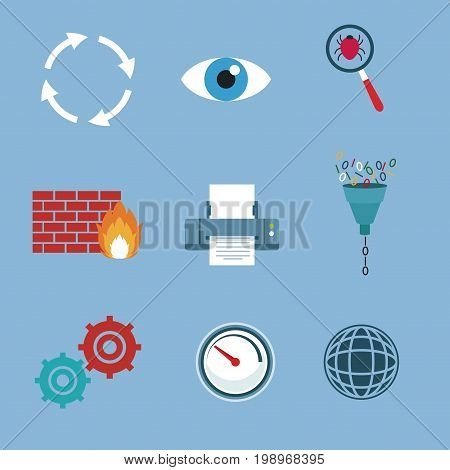 color background with set elements firewall and technology elements vector illustration