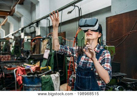 Industrial Factory Woman With Vr Technology