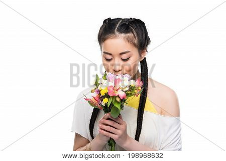 Beautiful Asian Girl With Closed Eyes Smelling Flowers Isolated On White