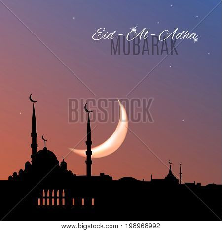 Arabic islamic holiday Eid-Al-Adha Mubarak greeting card with mosque silhouette on sunset sky bakground. Vector illustration