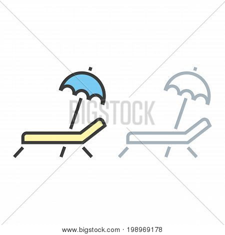 Recliner. Travel vector icon on white isolated background