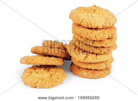 Oat cookie isolated on white background background, Nobody, Close-up, Closeup, Vertical, Close,
