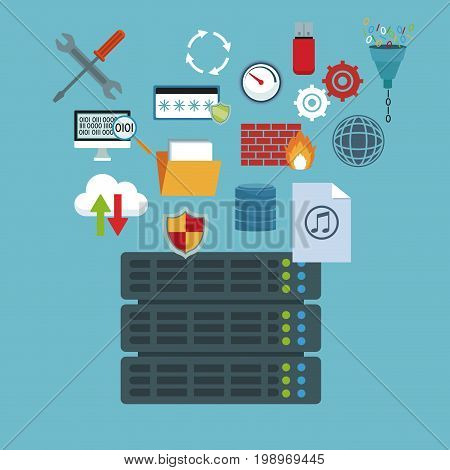color background with rack server router and technology elements in icons floating vector illustration