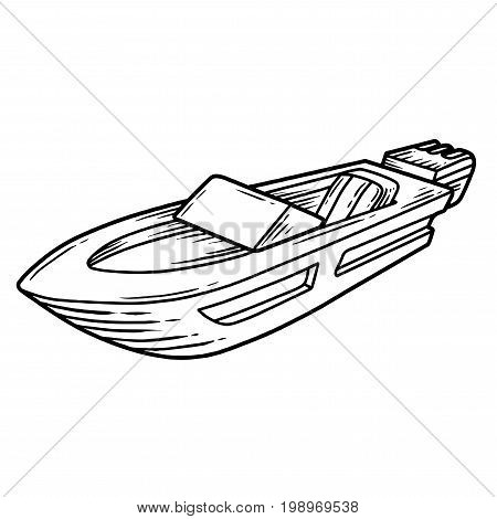 Powerboat Hand Drawn Engraving Sketch Vector Summer Voyage Cruise Transportation Illustration. Retro