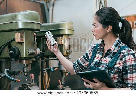 Milling Machining Girl Holding Digital Tablet