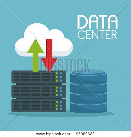 color background with cloud storage and server with rack drive and text data center vector illustration