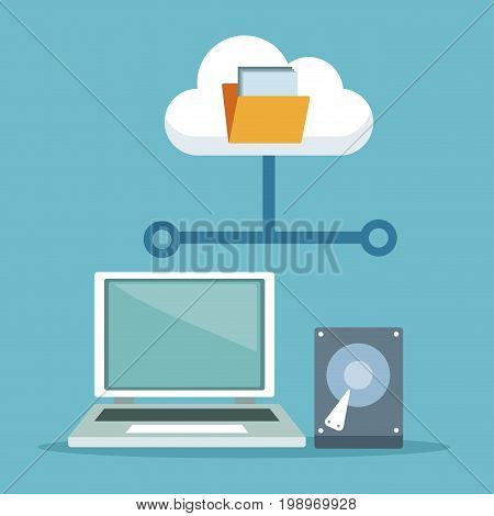 color background with laptop computer and hard drive with cloud storage vector illustration