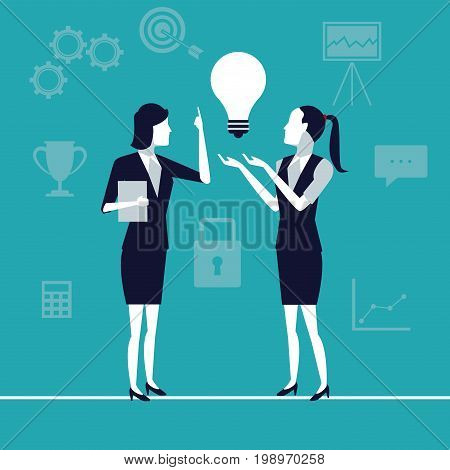 color background with executive women in generation of ideas business growth vector illustration