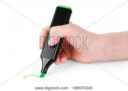 Hand is drawing with green marker Isolated on white