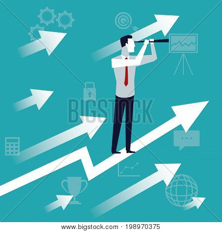 color background business growth with executive man with telescope looking to the future vector illustration