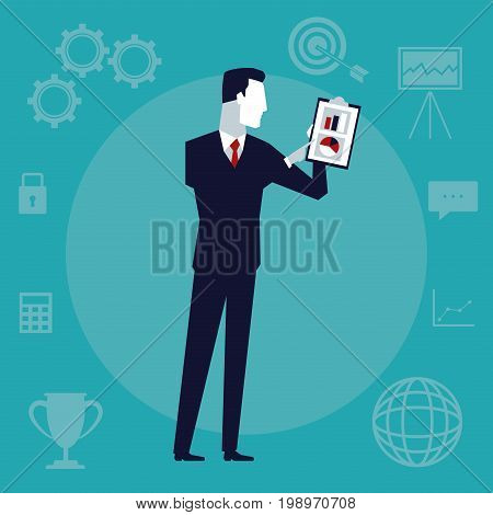 color background with executive man with table pad with graphics vector illustration