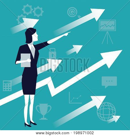 color background with executive woman and arrow symbol business growth vector illustration