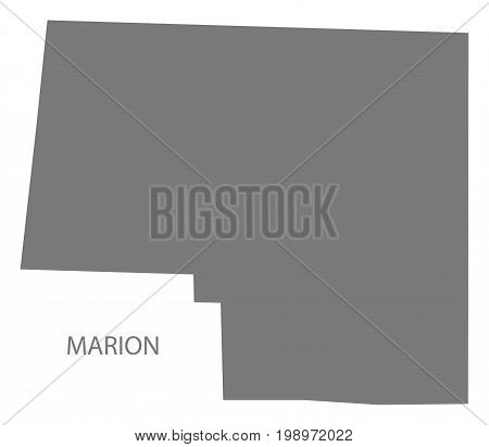 Marion County Map Of Alabama Usa Grey Illustration Silhouette