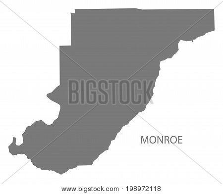 Monroe County Map Of Alabama Usa Grey Illustration Silhouette