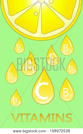 the vitamins in lemon. infographics, healthy food. vector illustration
