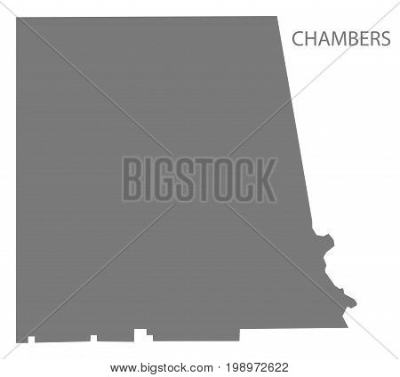 Chambers County Map Of Alabama Usa Grey Illustration Silhouette