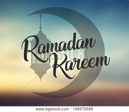 Ramadan Kareem background with ornamental moon and lamp, lantern. Greeting card, invitation for muslim community holy month on blurred. Ramadan Kareem Vector illustration