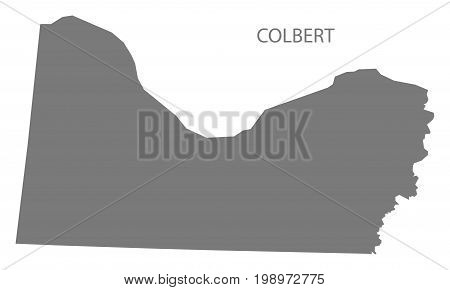 Colbert County Map Of Alabama Usa Grey Illustration Silhouette