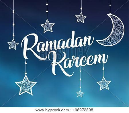 Ramadan Kareem background with ornamental moon and stars. Greeting card, invitation for muslim community holy month on blurred. Ramadan Kareem Vector illustration