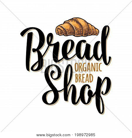 Croissant with lettering Bread Shop Organic. Isolated on the white background. Vector color hand drawn vintage engraving illustration for label, flyers and menu bakery.