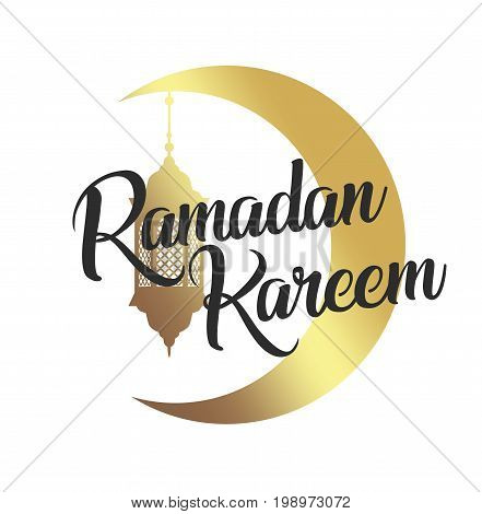 Ramadan Kareem, eid mubarak golden moon and lamp, lantern. Black lettering. Greeting card, invitation for muslim oriental community holy month on white. Vector illustration