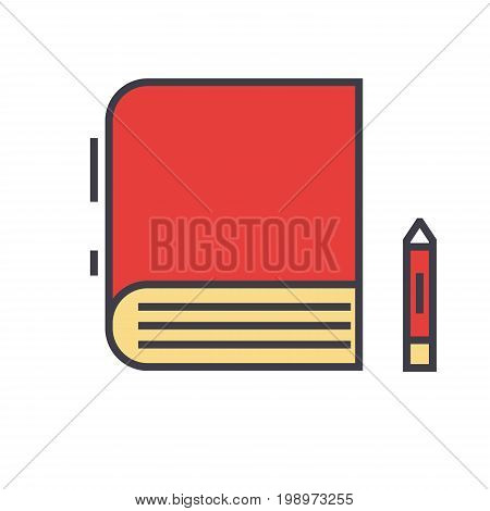 Book, study, learn, library, e-book, bookstore concept. Line vector icon. Editable stroke. Flat linear illustration isolated on white background