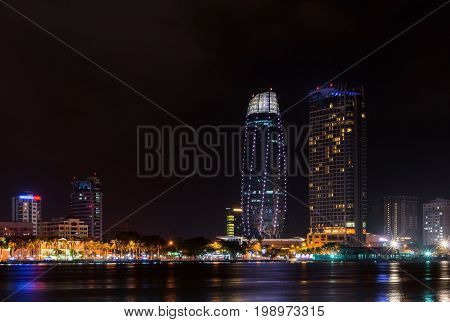 Night View Of Modern Buildings And Han River In Danang City