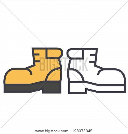 Boots, foorwear, hiking concept. Line vector icon. Editable stroke. Flat linear illustration isolated on white background