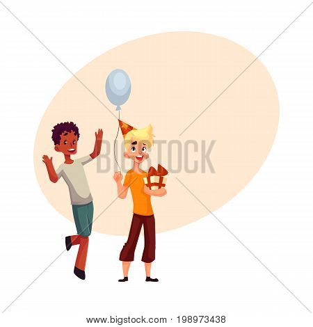 Two boys at birthday party, black dancing, Caucasian holding gift and balloon, cartoon vector illustration with space for text. Two boys, kids at birthday party, holding balloons and gifts